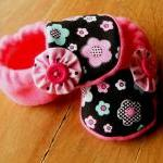 Dotty Pink, Blue, Black Flowers Fle..