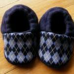 Blue Argyle Fleece Baby Booties