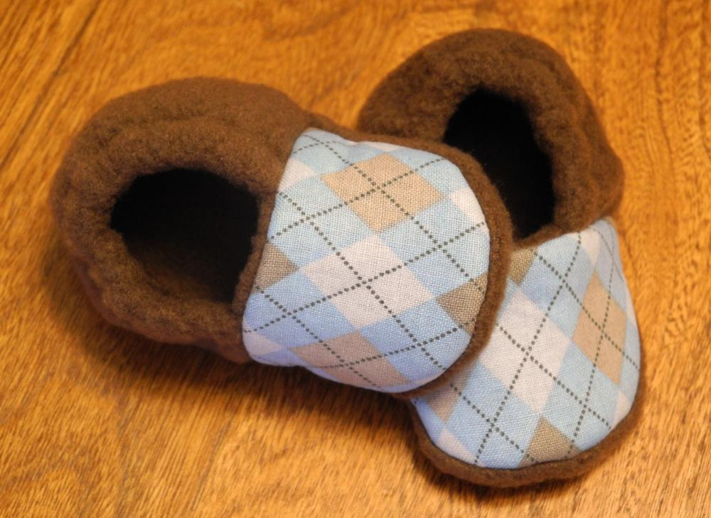 Blue and Brown Argyle Fleece Baby Booties