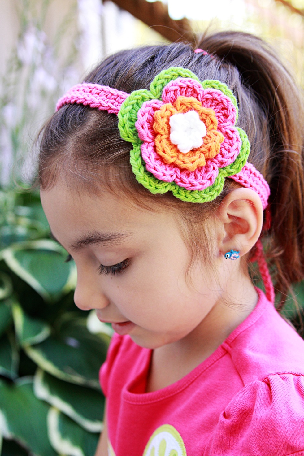 Crochet Flower Clip Headband Hot Green Hot Pink Orange On Luulla